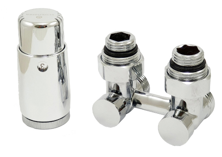 Double H-Valve with mini Diamant thermostatic head for a V-type radiator