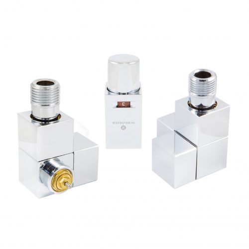 Square thermostatic set, side-angle